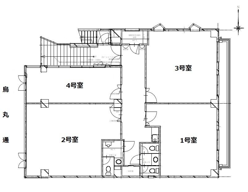 烏丸十条ビル2階平面図(物件資料掲載用)